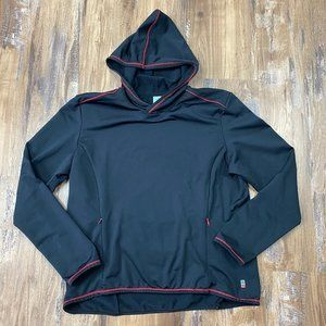 LUCY Black Red Hoodie Pockets Large Stretchy